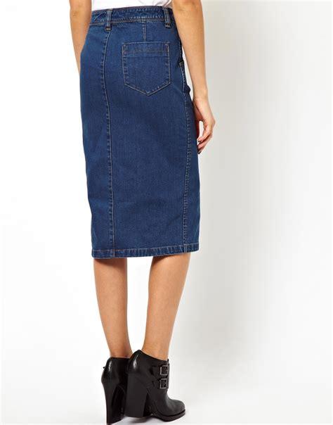 asos denim pencil skirt with split front in blue lyst