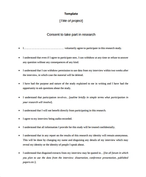 Letter Of Consent Research Study Sle Consent Form 9 Free Documents In Word Pdf