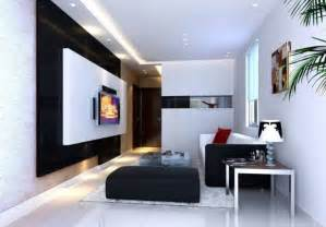 black and white tv wall for small living room interior