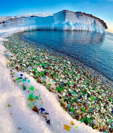 Russian Glass Beach | russians throw away empty vodka and beer bottles ocean
