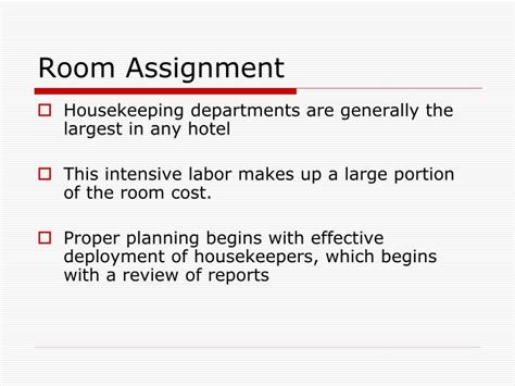 room assignment ppt hotel housekeeping powerpoint presentation id 985521