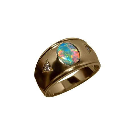 black opal mens ring mens opal and ring 14k gold wide band flashopal