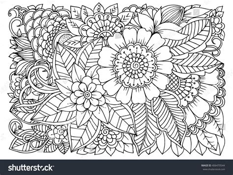 zentangle floral doodles in black and white coloring