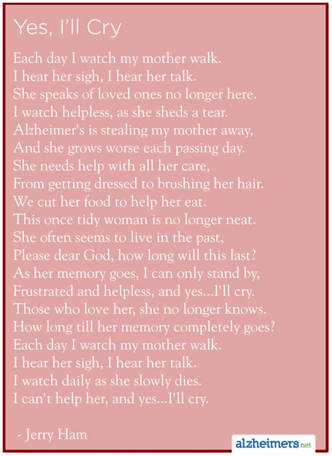 1000 images about alzheimers alzheimers poems letters alzheimer s poem yes i ll cry by jerry ham alzheimers