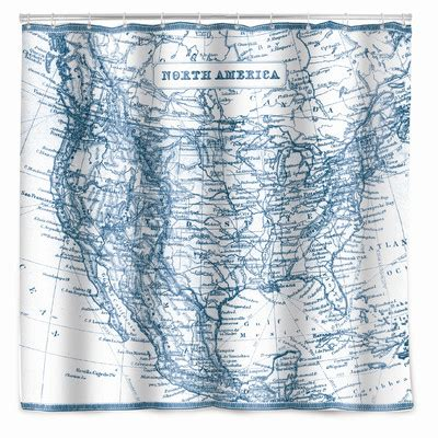 kikkerland shower curtain kikkerland vintage map shower curtain allmodern
