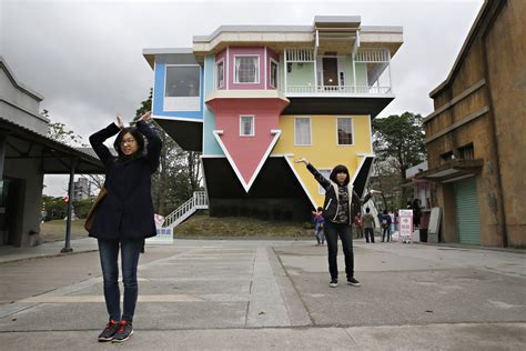 down house upside down house taiwan s upside down house pictures cbs news