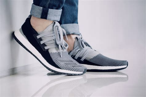 adidas pure boost adidas pure boost raw sneaker in white black and gray