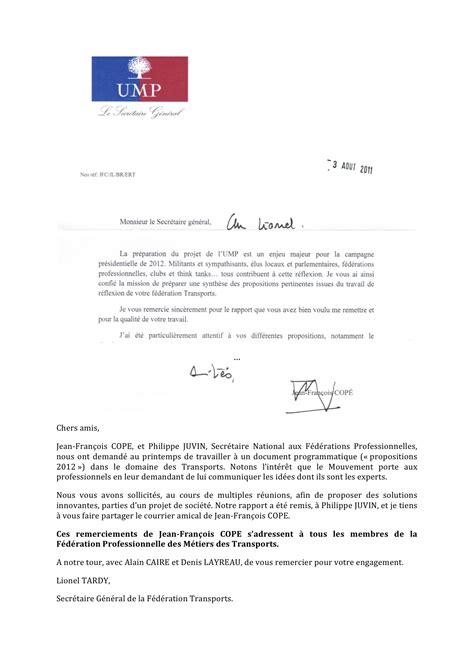 Lettre De Remerciement Word Lettre De Remerciement De Jean Fran 231 Ois Cope Transport Ump