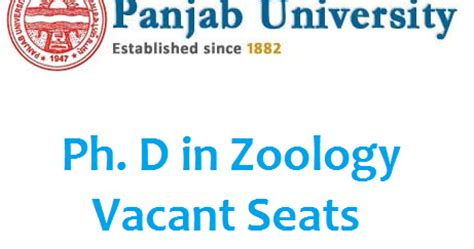 Gndu Mba Entrance Test 2016 by Pu Chandigarh Ph D In Zoology Admission 2016 Vacant