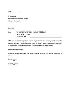 Request Letter Bank Account Reactivation Sle Letter To Reactivate Corporate Bank Account Cover Letter Templates