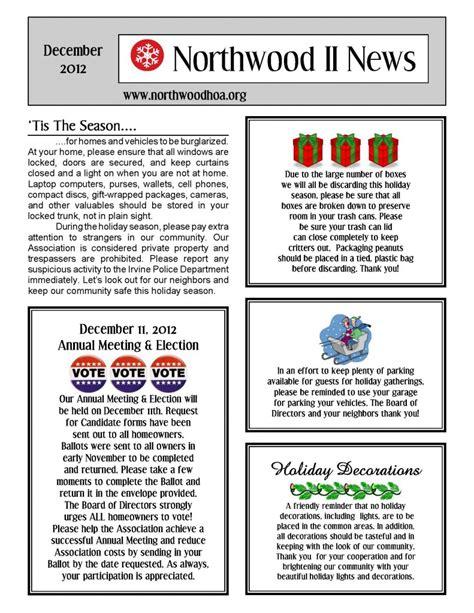 community newsletter template december 2012 northwood ii nwii hoa community