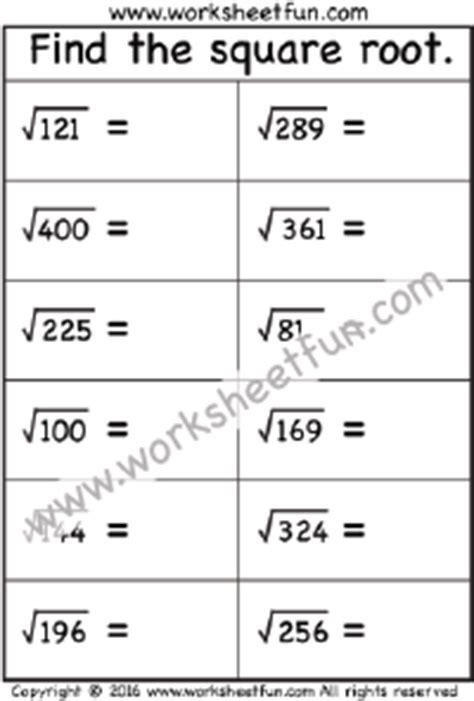 printable math worksheets square roots square roots of perfect squares free printable