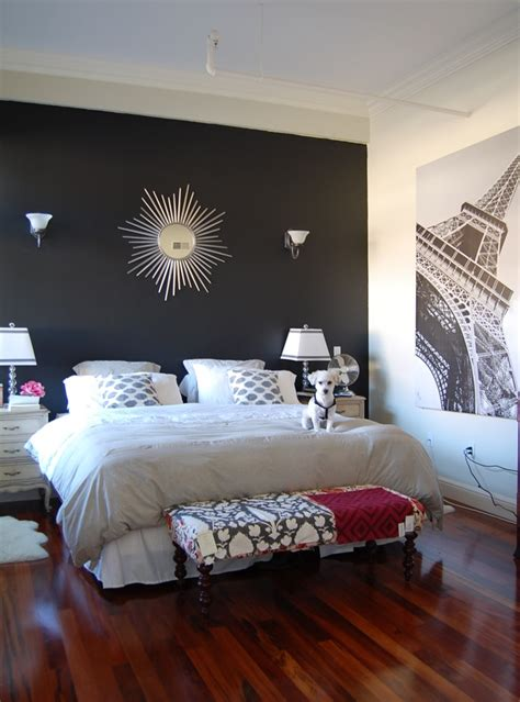 extraordinary bedroom interior design ideas with black wall paint color also sweet white bedding