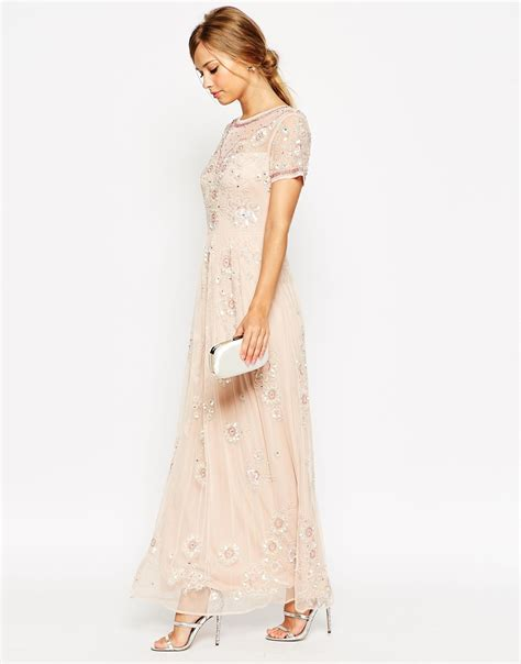 Adonia Maxi Dress Dusty Pink lyst asos salon beaded floral mesh maxi dress in pink