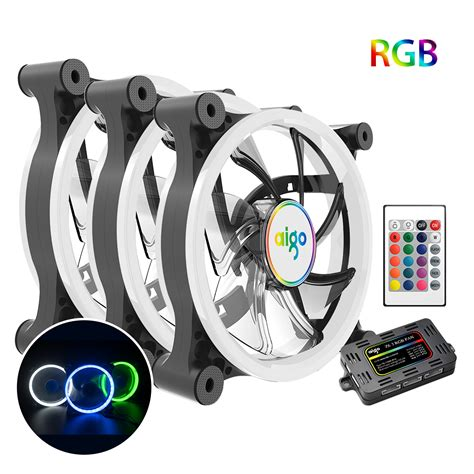 aigo 3 pack computer pc cooling fan rgb adjust led 120mm ir remote ebay