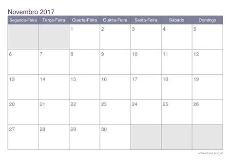 Calendario De 2017 Calend 225 Novembro 2017 Para Imprimir Icalend 225 Br