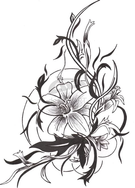 black floral tattoo designs design by darkfoxblade on deviantart