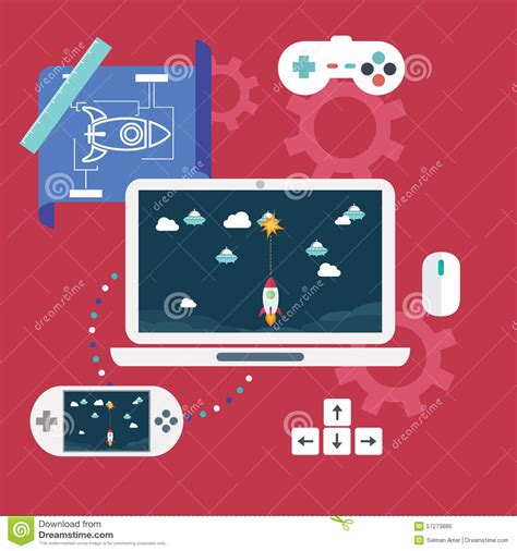 game design elements in vector from stock 2 abstract flat vector illustration of game development