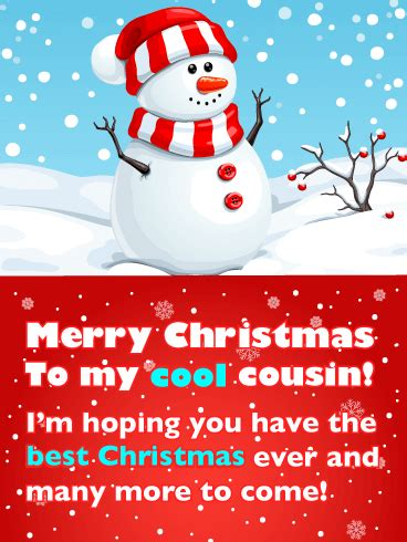 cute snowman  santa hat merry christmas card  cousin birthday greeting cards  davia