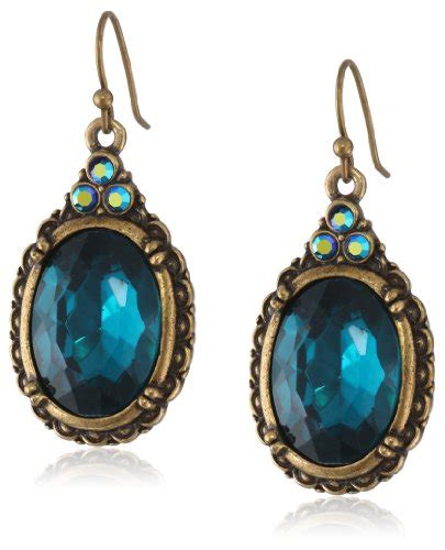 Bross Import Blue Teardrops Zircons Fashion 1928 jewelry quot peacock quot blue zircon color oval import it all