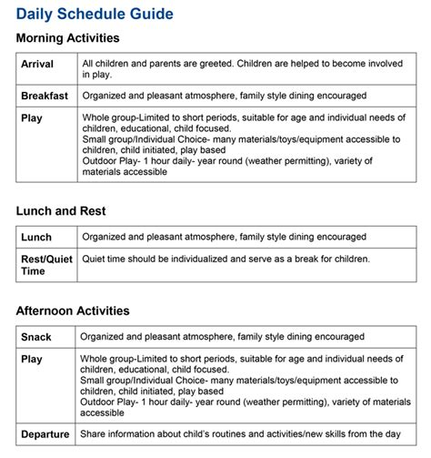 Child Care Daily Routine Template by Child Care Aware Of Dakota Run Your Child Care