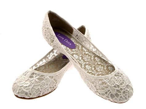 womens wedding shoes flats womens ivory lace ballet pumps flat bridal bridesmaid