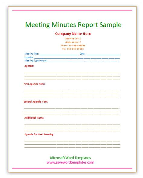 meeting report template free free word templates september 2013