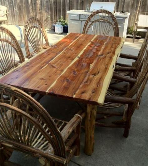 cedar log bench wood furniture pinterest cypress furniture solid cedar table any length branch n out pinterest log furniture