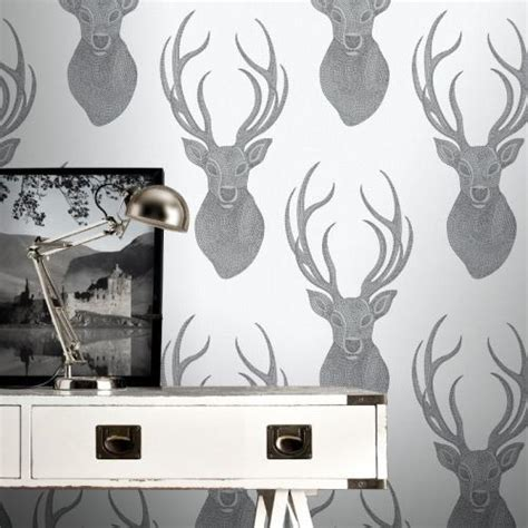 stag wallpaper grey textured grey silver beaded stags head quality feature