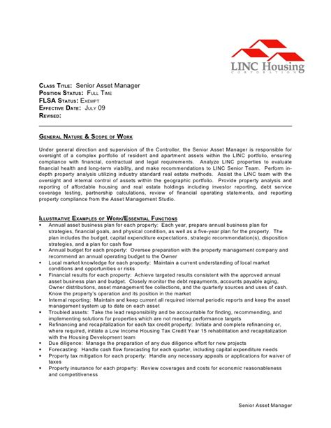 Fixed Assets Manager Cover Letter by Description Senior Asset Manager 2 Doc