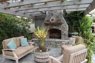 Outdoor fireplaces with pergolas attached to house design ideas