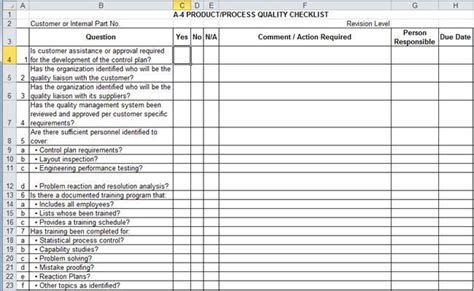 apqp checklists in excel compatible with aiag 4th ed
