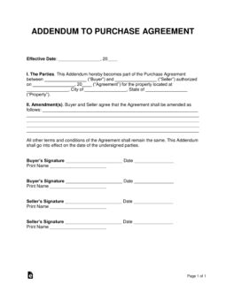 Free Purchase Agreement Addendums Disclosures Word Pdf Eforms Free Fillable Forms Contract Addendum Template Sle