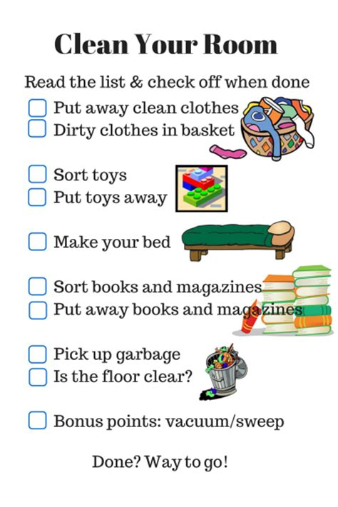 clean your room parenting checklist clean your room rls creativity