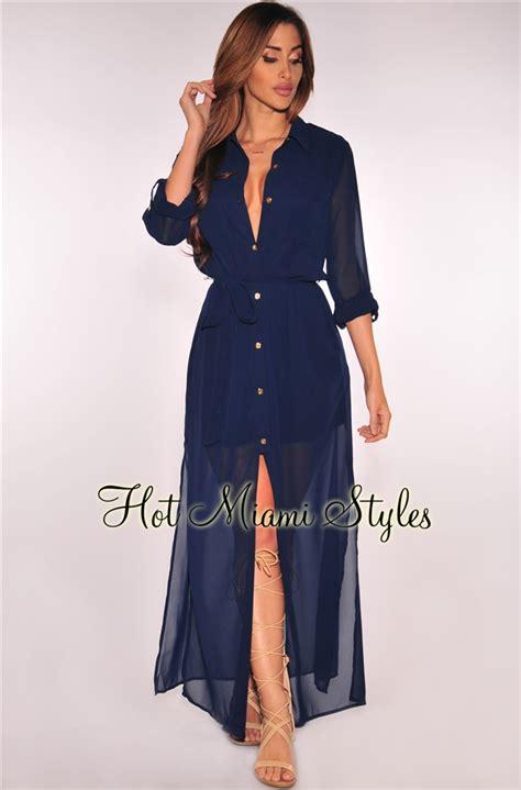 navy blue button belted maxi dress