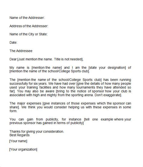 Sle Sponsorship Request Letter For Youth Sports Team Sponsorship Letter 7 Free For Word