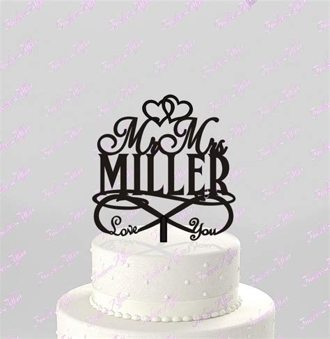 Acrylic Cake Topper Nama you for infinity wedding cake topper personalized with last name acrylic cake topper