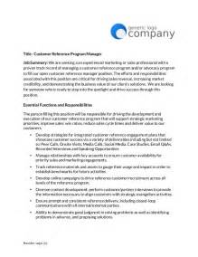 customer reference manager job posting template