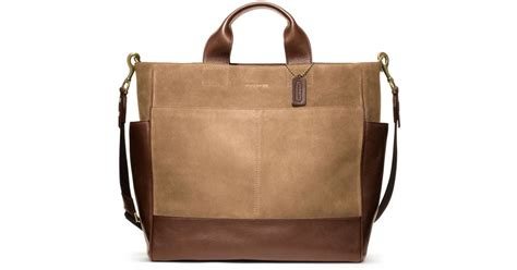 The Coach Bleecker Tattersall Shopping Bag by Lyst Coach Bleecker Suede Utility Tote In Brown For