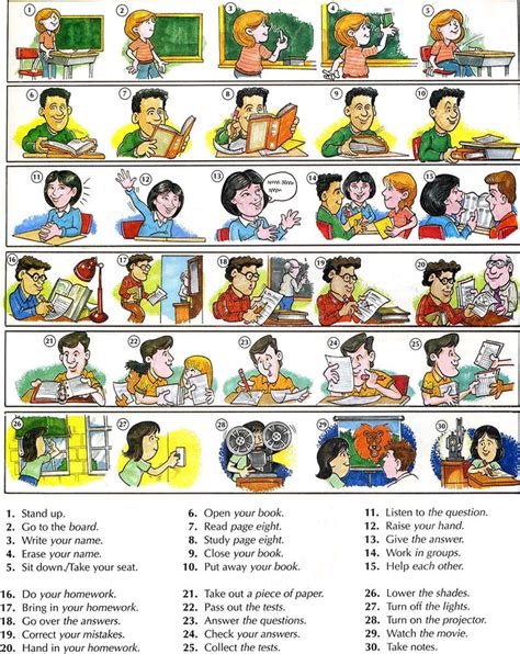 commands in classroom actions commands vocabulary students and teachers