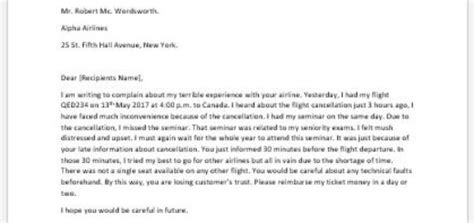 Complaint Letter Delayed Flight Complaint Letter For Exercise Equipment Writeletter2