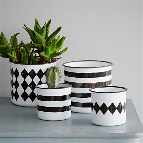 black and white planters black white enamel pot contemporary indoor pots and planters by rigby mac