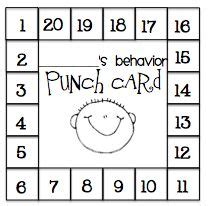 free printable behavior punch card template behavior punch cards punch and things on
