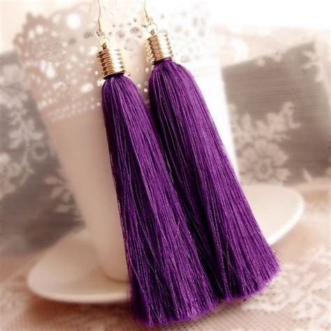 Etnic Tassel Earrings Gold Plated aliexpress buy fashion ethnic dangle earring purple vintage tassel drop earrings for