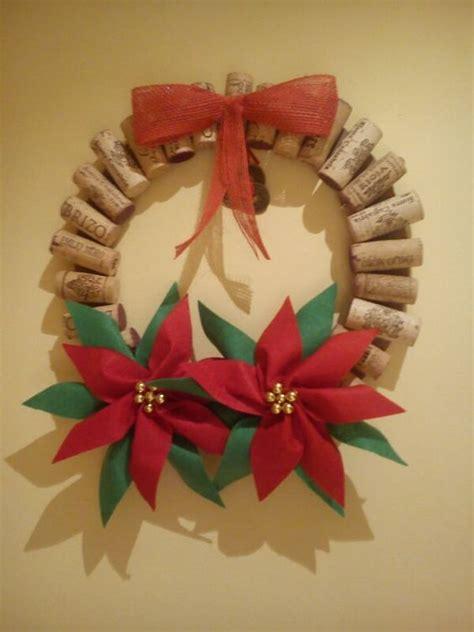 coronas navideas de fieltro decoracion navidad corona navide 241 a con corchos flores de