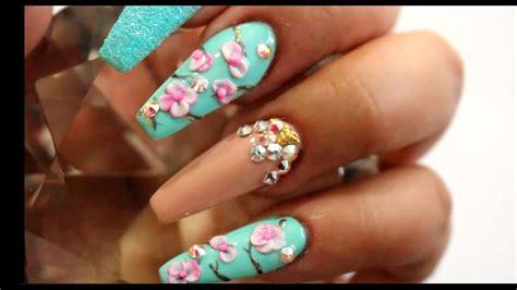 fotos de uñas acrilicas en 3d u 241 as acrilicas menta con flores en 3d youtube