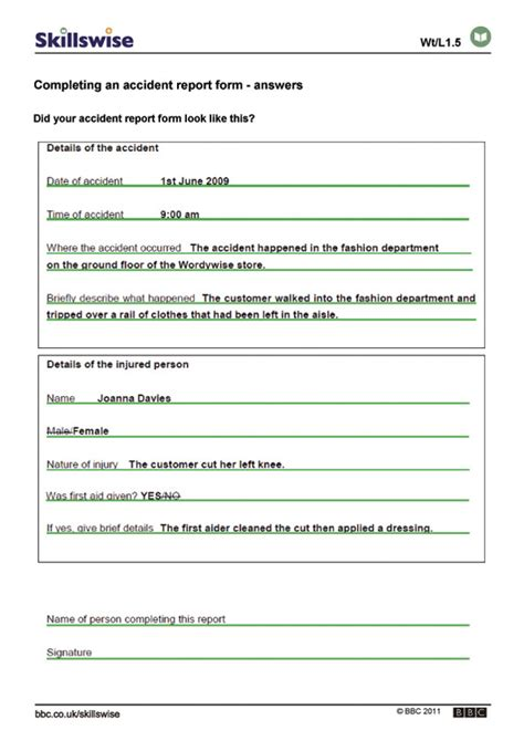 report form completing an report form