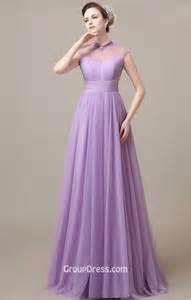 Elegant Illusion High Neck Lavender Chiffon Long A Line