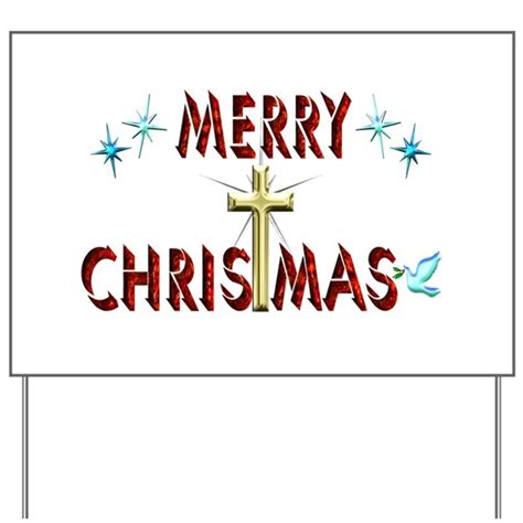 merry yard signs lights merry with cross yard sign by happygiving