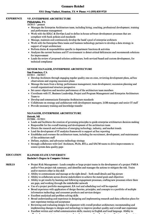 Enterprise Architect Resume by Enterprise Architecture Resume Sles Velvet